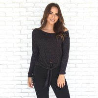 Speckle Fleece Top In Black
