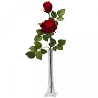 Roses With Tall Bud Vase Silk Flower Arrangement