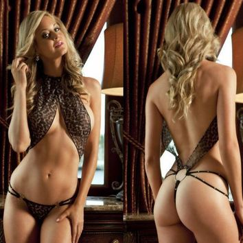 ONETOW Fashion Leopard Hollow Print Backless Underwear Lingerie Set