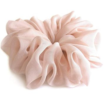 Pale Pink Large Chiffon Scrunchies Stylish Accessories Hair Band Ponytail Holder Teen Girls Women