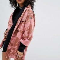 Milk It Vintage Overdyed Military Shirt Jacket With Crystal Embellishment at asos.com
