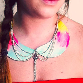 Blue Pink and Yellow Peter Pan Collar by Beatniq on Etsy