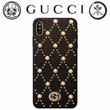 GUCCI 2019 new leather rhinestone pearl iPhoneX mobile phone case cover 5