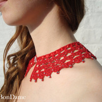 Lace Collar, Crochet Collar, Red Detachable Collar, Knitted Collar Necklace, Handmade gift, Christmas gift, Free Shipping
