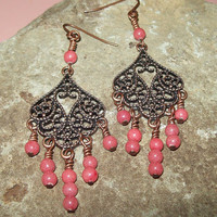 Romance - Gypsy Chandelier Earrings with Pink Mountain Jade