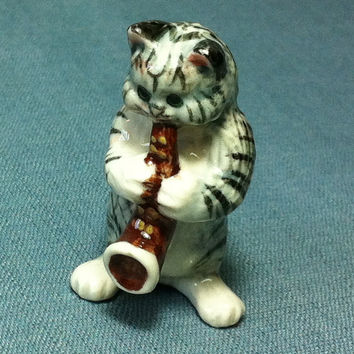 Miniature Ceramic Cat Kitty Playing Music Saxophone Animal Cute Tiny White Grey Figurine Statue Decoration Craft Collectible Hand Painted