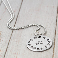 Initial Necklace, Personalized Gift Idea, Custom Star Necklace, Handstamped Jewelry, Star Name Necklace, Personalized Jewelry