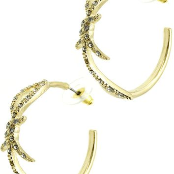 Gold Knotted Wire Metal Hoop Earring