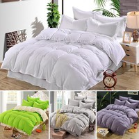 New Arrival 4 Color Plain Dyed Duvet Quilt Cover Bed Cover For Comforter Bedding Cotton Single/Double/King Silk Bedding
