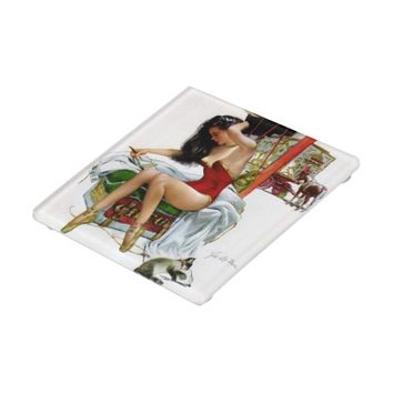 Circus Beauty Vintage Art Pin-Up Girl Glass Coaster