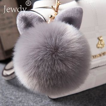 Jewdy 2018 Fur Pom Pom Fake Rabbit fur ball key chain