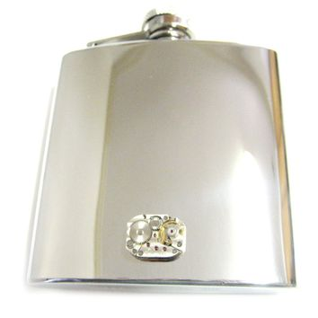 6 Oz. Stainless Steel Flask with Steampunk Rectangular Watch Gear Pendant