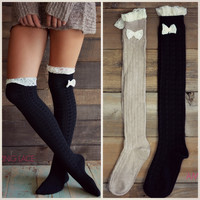 Bow My Darling Knee High Socks