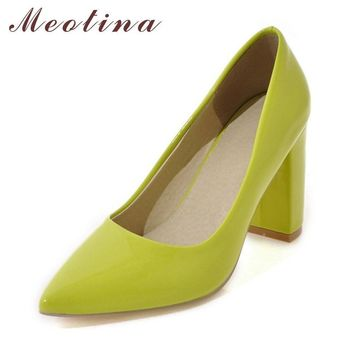 Meotina High Heels Shoes Women Pumps Pointed Toe High Heels Dress Patent Leather Ladie