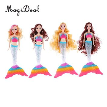Fashion Princess Doll Long Curly Hair Mermaid Model With Rainbow LED Tail For Barbie Children Birthday Gift