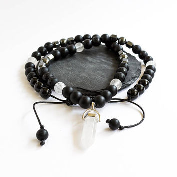Necklace Mala necklace Gift for him Gemstone necklace Japa mala Raw crystal necklace Healing crystal Pedant necklace Onyx mala beads