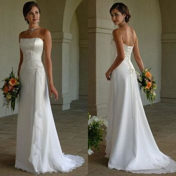 2014 Elegant Lace Up White Ivory Long Chiffon Strapless Wedding Dresses Bridal Dresses Gowns = 1933122820