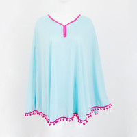 Aqua Blue with Pom Poms ~ Swimsuit Cover Up, VERY Light Weight.
