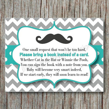 Digital Book Request Invitation Insert Card Mustache Little Man Baby Shower  Instant Download Aqua Grey Chevron