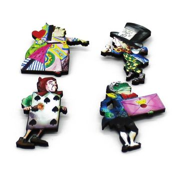 Fancy Cartoon Clown Cute Wonderland Pins Alice Wooden Brooch Vintage Pins Jewelry