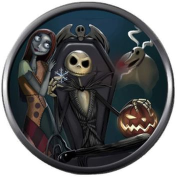 Sally And Jack In Chair Nightmare Before Christmas Jack Skellington Blue 18MM - 20MM Charm for Snap Jewelry New Item