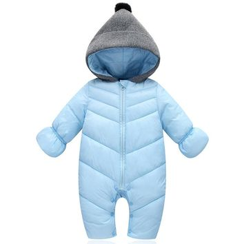 Toddler Children's Clothes Boys Winter Down Romper Knitted Hooded Zipper Jumpsuit Baby Girls Sets Infant Kid Clothing Suits 0-2Y