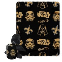 New Orleans Saints NFL Star Wars Darth Vader Hugger & Fleece Blanket Throw Set