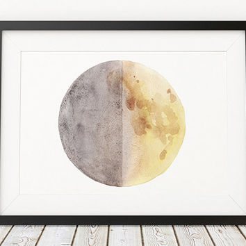 Watercolor print Moon poster Moon phase print Lunar art ACW902