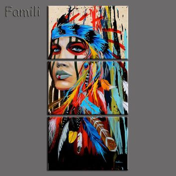 Framed 3pcs Abstract Print The Indians feathered home decor Canvas Print Native american girl Painting Wall Art Picture