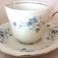Germany Fine Bone China Vintage Large Teacup & Saucer Set - silver rim on white ground - pale blue garland flowers - floral - coffee - grey