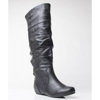 Soda Tail-H Vegan Leather Slouchy Round Toe Mid Calf Boot BLACK