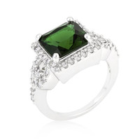 Halo Style Princess Cut Emerald Green Cocktail Ring, size : 06
