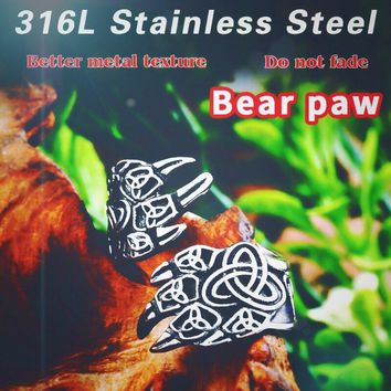 Beier 316L Stainless Steel Nose viking for men scandinavian Bear claw Warrior Slavic  Runic Amulet Ring fasion  jewelry LR590