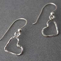 Simple little hammered sterling Heart dangle earrings - Handmade