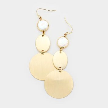 Mother Of Pearl Gold Metal Disc Dangle Earrings