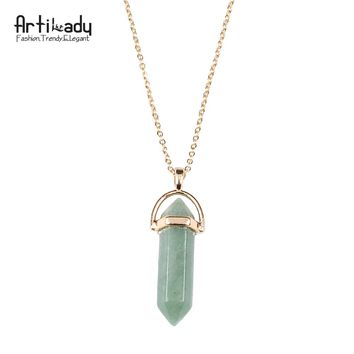 Artilady Natural Crystal Stone Pendant Necklace; Choose From 8 Stones