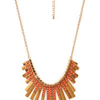 FOREVER 21 Art Deco Fan Bib Necklace Gold/Coral One