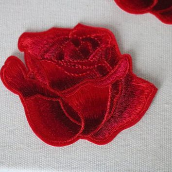 Rose patch,red flower  patch,Iron on patch , Applique, Embridered ,Sew on ,High quality,For denim jacket ,Sew-on