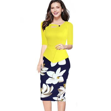 Elegant Women Winter Half Sleeve Office Business Sheath Pencil Dress Knee-Length Print Floral Bodycon Wear to Work Dress