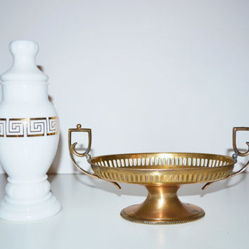 Vintage Brass Dish Greek Dish Compote and a Milk Glass Vase Bottle with Greek Keys Greek Home Décor Roman and Greek Style
