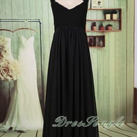 A line black chiffon and lace long bridesmaid dress, Chiffon black mother of the bride dress,Black long prom dress,long evening dress