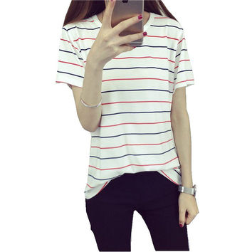 2016 Women's Summer T-Shirt Clothes Shirt  O-neck Classic Striped Tops Basic Bottoming Girls Tee Free Shipping