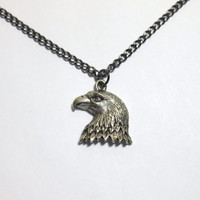 Mens or Unisex Pewter Eagle Head Pendant on Gunmetal chain, you choose the length 15 to 24 inches