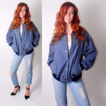 Vintage 1980s 90 oversize snap button blue sports varsity school bomber jacket coat pocket