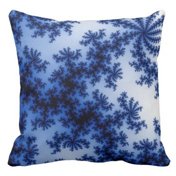 Groovy Cobalt Blue and White Fractal Art Throw Pillows