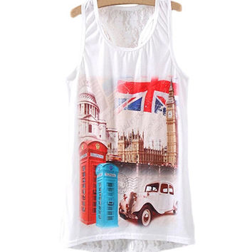White Lace London Booth Print Sleeveless Shirt