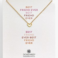 Women's Dogeared 'Reminder - Best Friend Ever' Boxed Heart Pendant Necklace
