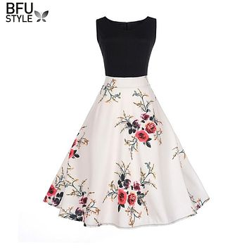 Women Summer Dress 2018 Contrast Color Clothing Floral Robe Retro Swing Casual 50s Vintage Rockabilly Dresses Vestidos Jupe