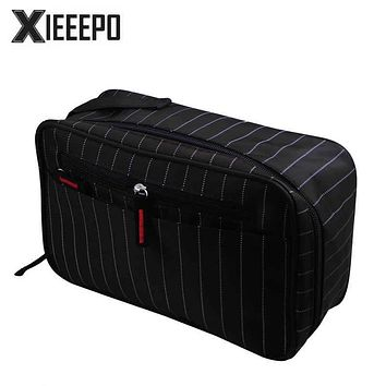 Men Travel Cosmetic Bag Trunk Makeup Case Zipper Striped Make Up Bag Necessaries Organizer Storage Pouch Toiletry Wash Kit Bag
