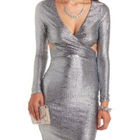 Long Sleeve Cut-Out Metallic Bodycon Dress - Navy Combo